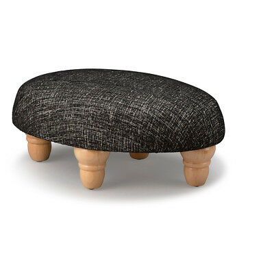 Biagi Upholstery & Design Black Small Oval Footstool with Turned Wood Feet