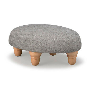 Biagi Upholstery & Design Nickel Grey Small Oval Footstool with Turned Wood Feet