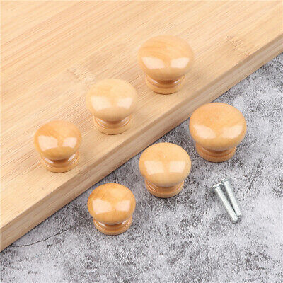 10 PCS Solid Wood Door Knob Natural Wooden Round Cupboard Drawer Pull Handle