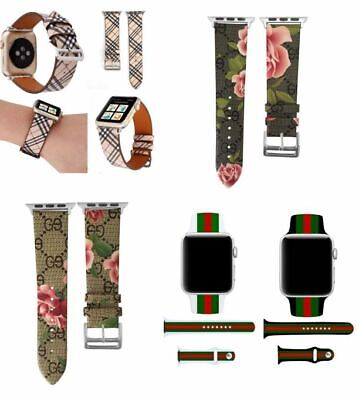Apple Watch LV Gucci Grid Pattern Leather Replacement Band 40mm 44mm Series 5