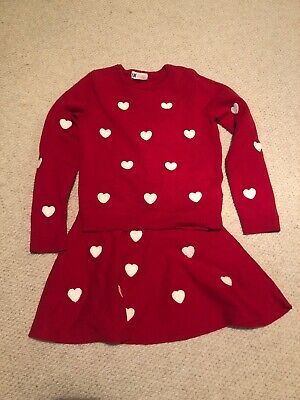 H&M Girls Red Heart Knitted Skirt And Jumper Set, Age 6-8 Years