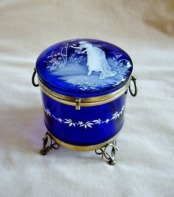 ANTIQUE MARY GREGORY PINK WHITE ENAMEL BLUE GLASS CASKET Bohemian Jewellery Box