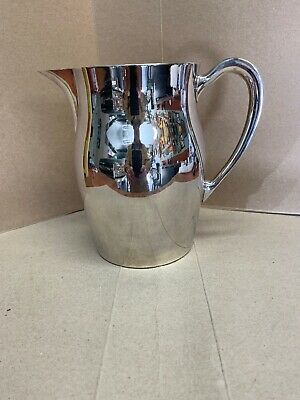 Vintage Mid Century Silverplate Water Pitcher Vase EPCA Bristol Silver Decor 60s
