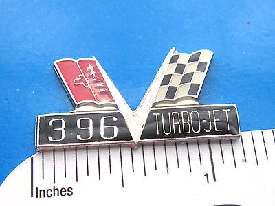 396 Engine Pin White Badge Hat Tack  *** Nicer than Picture