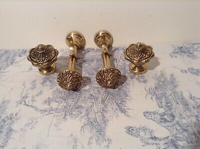 Set Vintage French Brass Curtain Pole Finals & Brackets