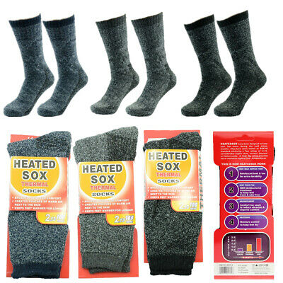 3 Pairs Mens Heavy Duty Winter Heated SOX Thermal Warm Insulated Boots Socks