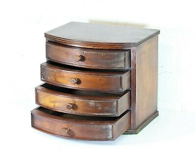 A Vintage Small Chest of Mahogany 4 Drawers Bow Front Desktop Antique Style