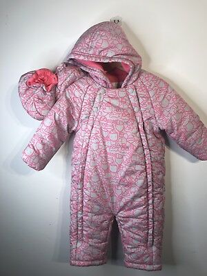 M&S GIRLS WARM SNOW SUIT 6-9 months  Pink & Grey Removable Shoes Animals