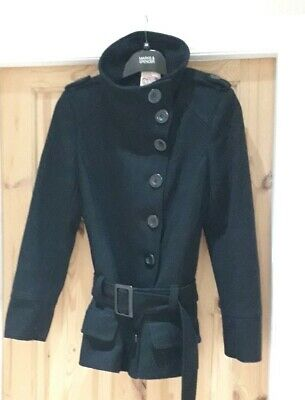 New Look Girls Dize 12 to 13 Years Black High Collar Long Sleeve Belted Coat !!