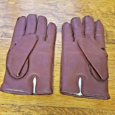 Mens Vintage Soft Brown Leather Gloves Lined With Faux  Fur Medium Size