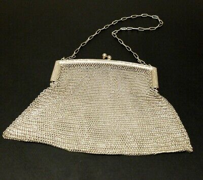 ANTIQUE WOVEN SILVER CHAIN MAIL EVENING BAG Edwardian Silver Mesh Purse  207g