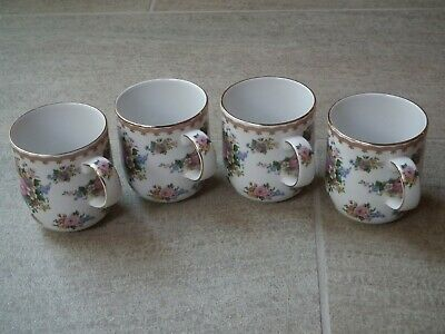 Royal Albert Lady Carlyle Fine China Tea Coffee Mugs Cups Set of 4