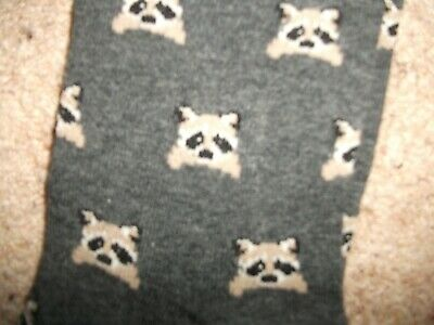 Pair Of Girls Wooly Tights Grey With Raccoon Faces New W/O Tags Fit 11-12 Years