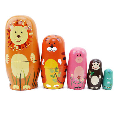 Five-layer Wooden Animal Russian Doll Matryoshka Nesting Hand Painted Dolls TO