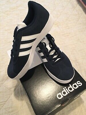 NEW adidas Originals VL Court 2.0 K Shoes Youth size 4 Navy and White NEW In Box