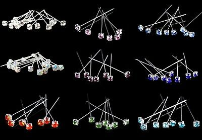 6, 12 or 36 4cm Clear Quality Diamante Pins Luxury Crystal Diamonte 1.5 4mm