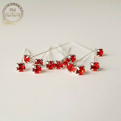 6, 12 or 36 4cm Red Quality Diamante Pins Luxury Crystal Diamonte 1.5 4mm