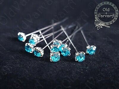 6, 12 or 36 4cm Turquoise Quality Diamante Pins Luxury Crystal Diamonte 1.5 4mm