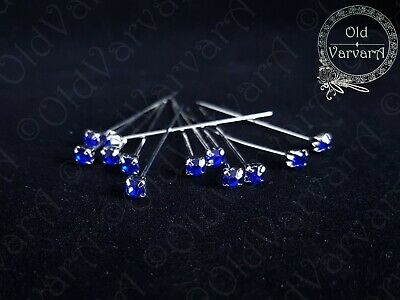 6, 12 or 36 4cm Royal Blue Quality Diamante Pins Luxury Crystal Diamonte 1.5 4mm