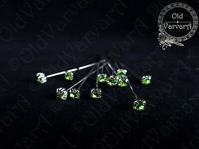 6, 12 or 36 4cm Lime Quality Diamante Pins Luxury Crystal Diamonte 1.5 4mm