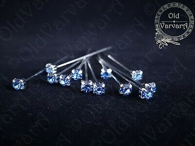 6, 12 or 36 4cm Light Blue Quality Diamante Pins Luxury Crystal Diamonte 1.5 4mm