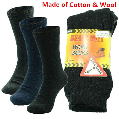 3-12 Pairs Mens Heavy Duty Winter Thermal Wool Cotton Boots Crew Work Socks 9-13