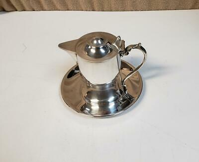 "Wallace Silverplate Hollowware M616 Syrup Pitcher w/Underplate 4"" Tall p"