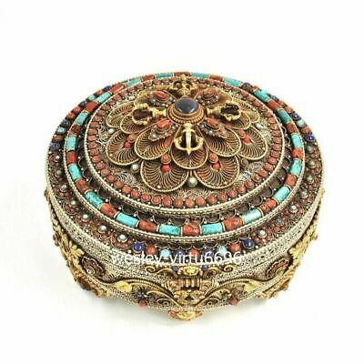 Tibet Copper gold Inlay Turquoise lapis lazuli Coral Gem Case Casket Jewelry Box
