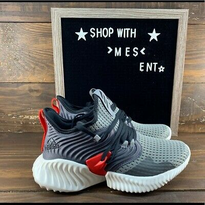 Adidas Alphabounce Instinct CC J Grey Black Red Kids Youth Running Shoes F36807