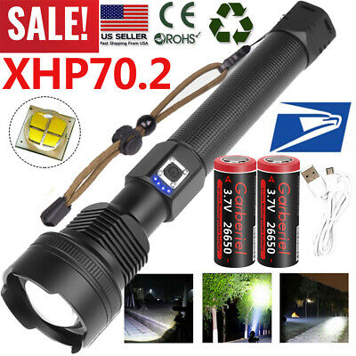Tactical Police 990000Lumens XHP70.2 26650 T6 LED Flashlight Aluminum Zoom Torch