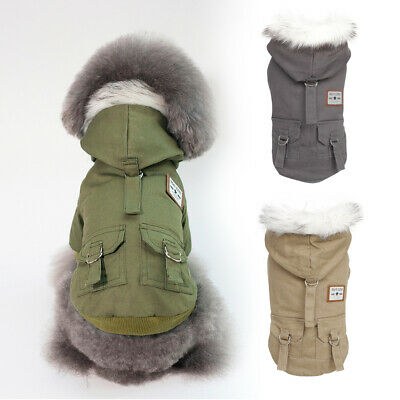 Warm Dog Coat With Fur Collar Windproof Jackets Winter French Bulldog Clothes