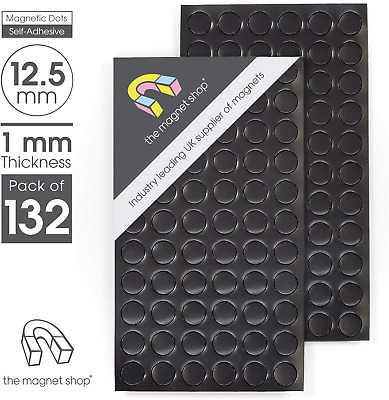 132 Self Adhesive Small Magnets Dots 12.5mm Disc Round Thick Sticky Craft Mag...