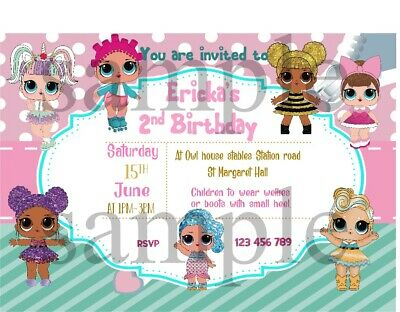 LOL DOLLS  surprise 5ft x 2 rainbows PERSONALISED CHILDRENS PARTY BANNER X