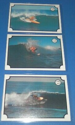 1976 Scanlens Surfboard Action Series x 3 Cards- Excellent/Near Mint