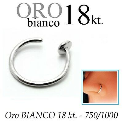 Piercing NASO cerchio anello in ORO BIANCO 750% 18kt. nose ring white GOLD 18kt