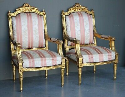 Antique pair carved gilt French Louis XVI armchairs fauteuil large proportions