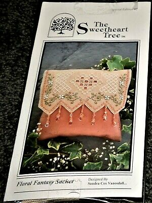 Superb Linen Kit Embroidery Beading Floral Fantasy Sachet Faceted Crystal Beads