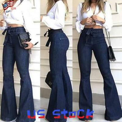 Women Bell-Bottom Jeans Denim Pants Tie Up Belted Trousers Flared Slacks Work US
