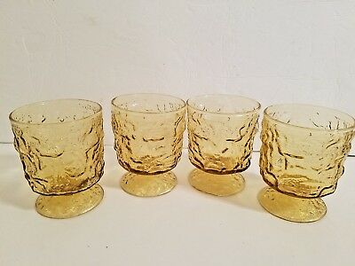 4 Vintage ANCHOR HOCKING Milano Honey Gold Textured Footed Short Tumbler Glasses