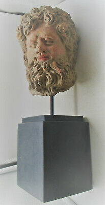 Circa 500Bce Ancient Greek Hellenistic Period Terracotta Head Of Zues Very Rare