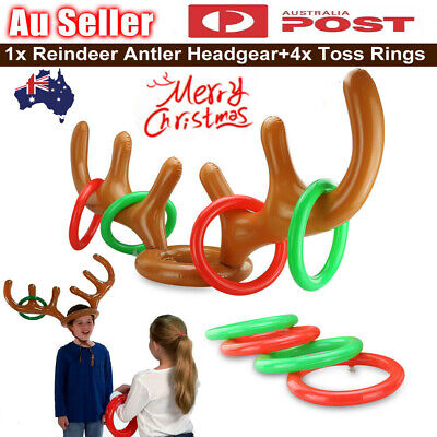 Antler Reindeer Hat Christmas Party Game Ring Moose Inflatable Toss Toys Gifts