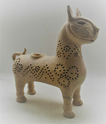 Scarce Circa 500-700Ad Ancient Islamic Terracotta Vessel In The Form Of A Beast