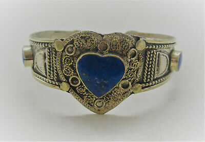 Beautiful Late Medieval Islamic Ottomans Silvered Gilt Bracelet Lapis Inserts
