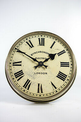 Vintage Industrial Polished Brass Synchronome Factory Railway Station Wall Clock