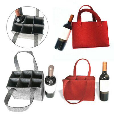 Felt 6-grid Bottles Cooler Wine Bottle Bag Protective Insulated Covers RED Gray