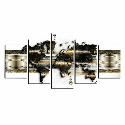 Art Print Wall Hanging Canvas Picture 5 Panels World Maps Home Office Room Decor