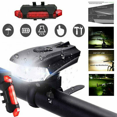 AU MTB Bike Bicycle Cycling USB Rechargeable LED Head Front Light/Rear Tail Lamp
