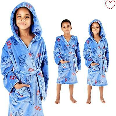Kids Boys Gaming Dressing Gown Novelty Fleece Game Robe