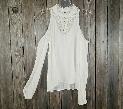 Hollister Women's Cream Off White Cold Shoulder Boho Peasant Top Blouse Size XS