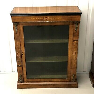 Antique Victorian walnut inlaid marquetry and ormolu pier display cabinet